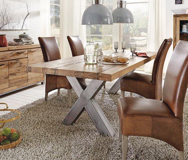 Tisch mit fester Platte Favorit Service Holzwerkstoff Wildeiche massiv ca. 100 cm x 76 cm x 220 cm