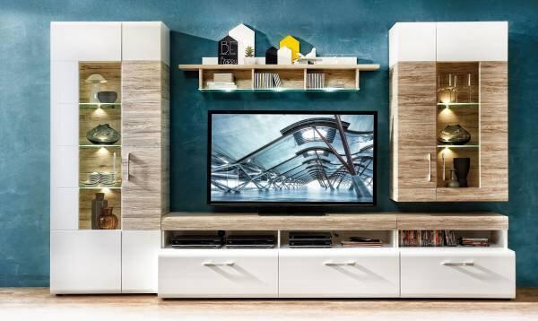 Wohnwand CELECT Holzwerkstoff Lack weiß Nachbildung ca. 1 cm x 2 cm x 3 cm