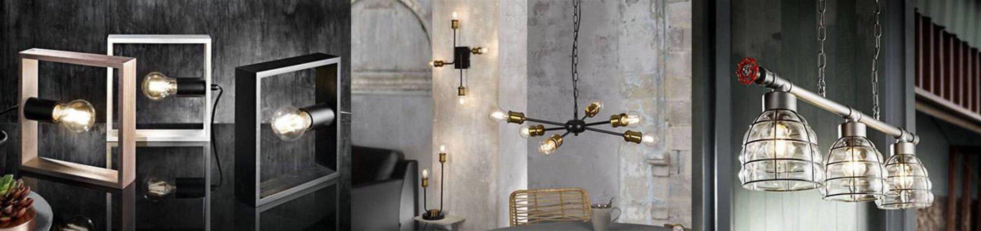 """Verschiedene Lampen in Fabrikdesign dienen als Inspiration für Leuchten in diesem speziellen Design innerhalb der Inspirationsseite """"Leuchtentrends"""""""