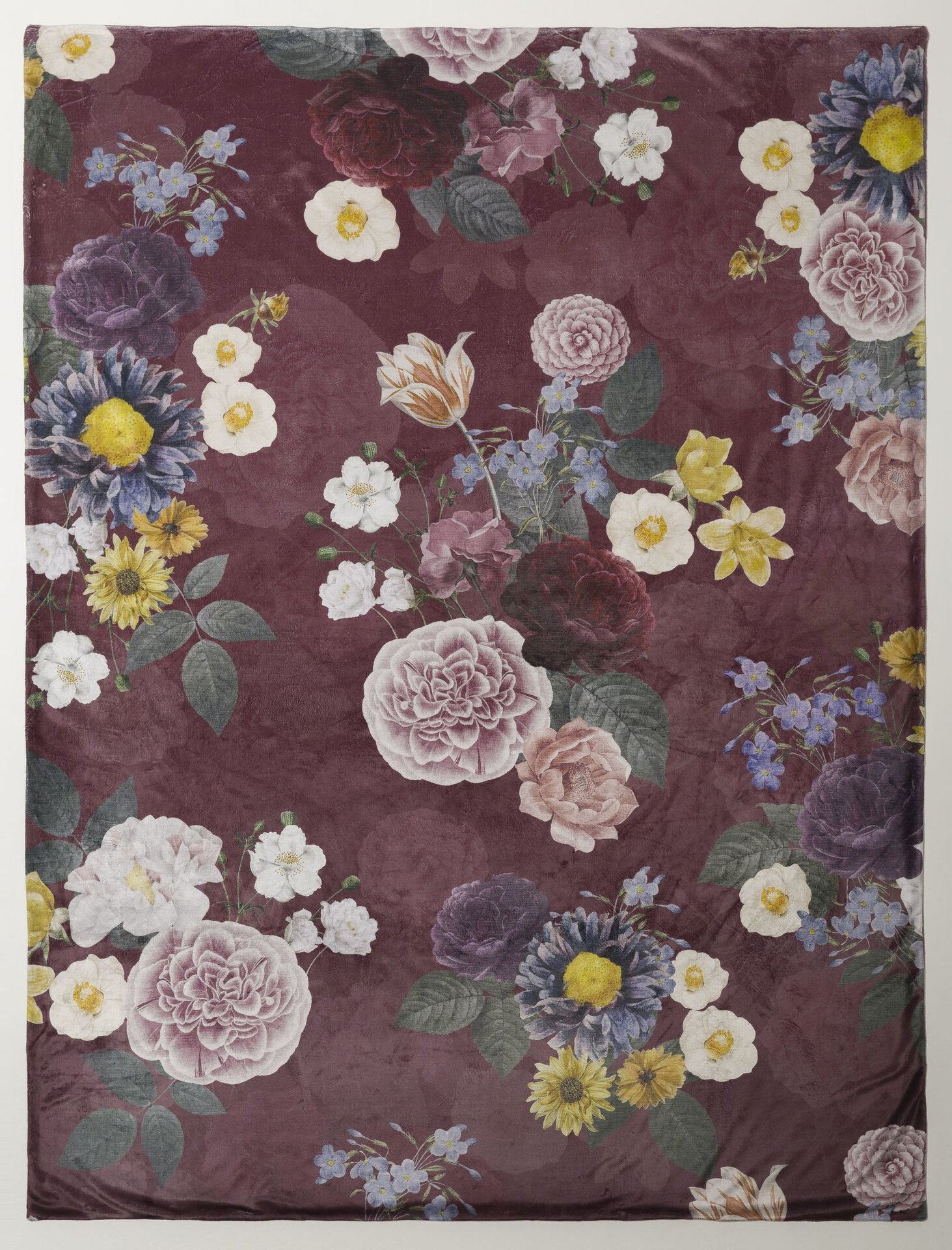 Wendedecke Digital-Blumen Casa Nova Textil rot 150 x 200 cm