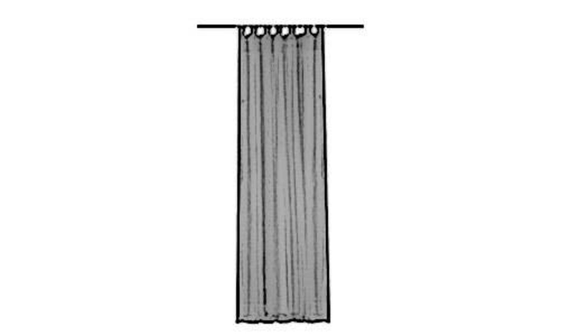 Icon für Schlaufenschal ist eine Gardinenstange, an der ein Vorhang mit angenähten Schlaufen hängt.