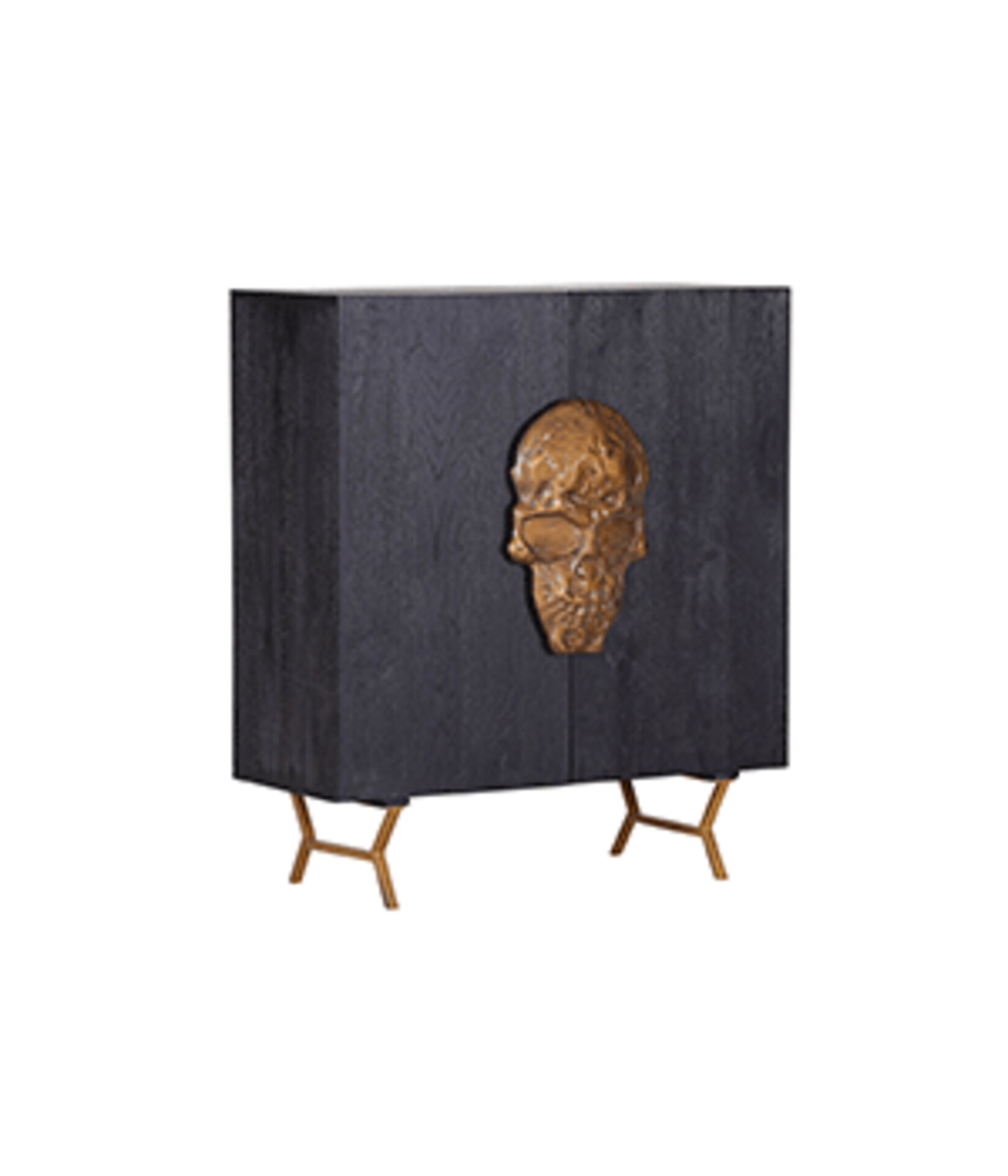schwarze Kommode mit goldenem Totenkopf