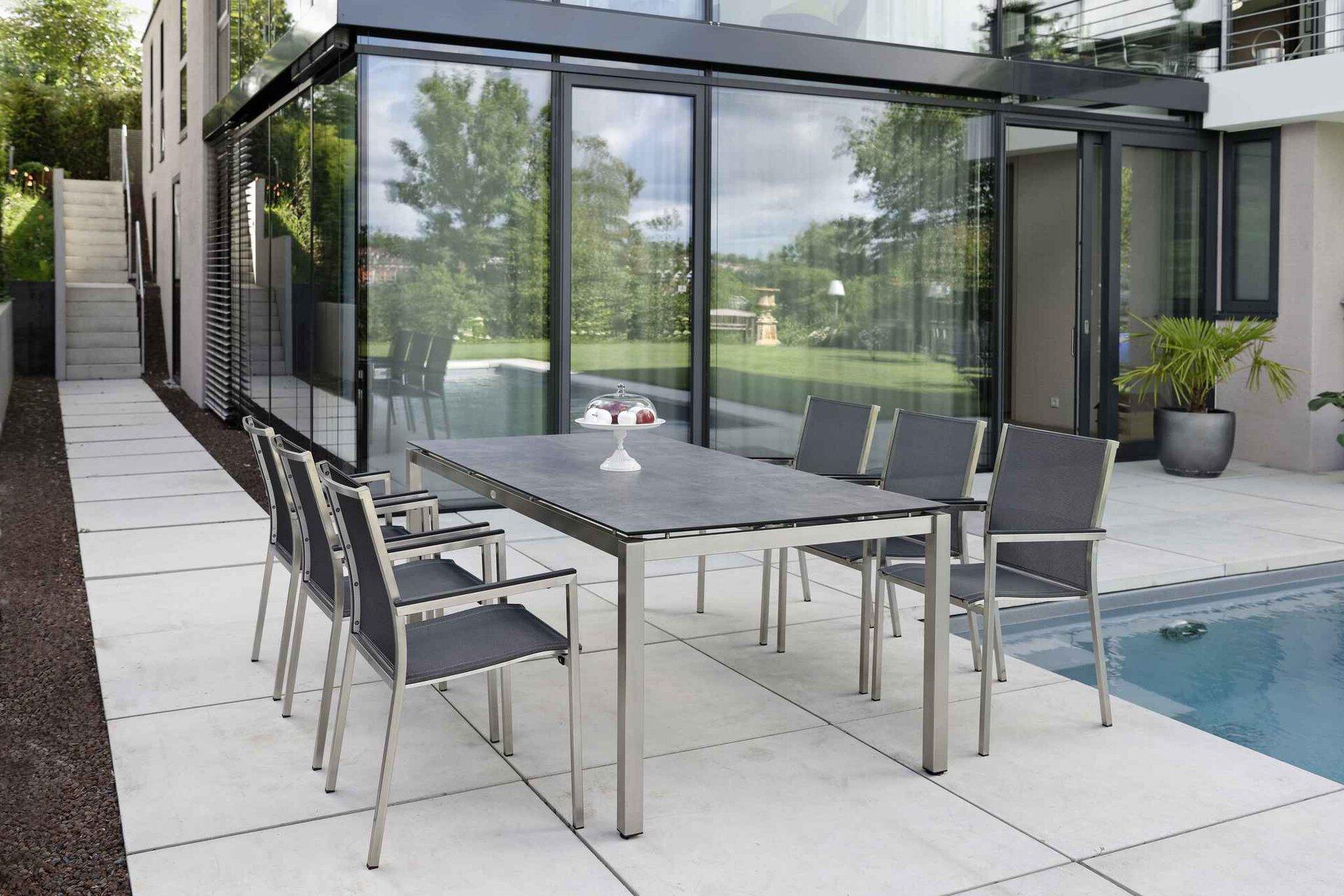Stapelstuhl POLARIS Stern Garten- und Freizeitmöbel Textil grau 54 x 89 x 61 cm