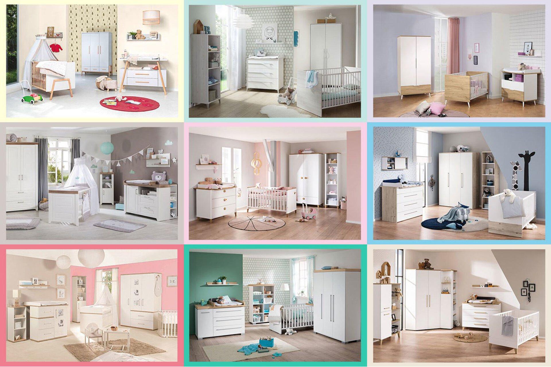 Neun komplette Babyzimmer in verschiedenen , hellen Pastellfarben.