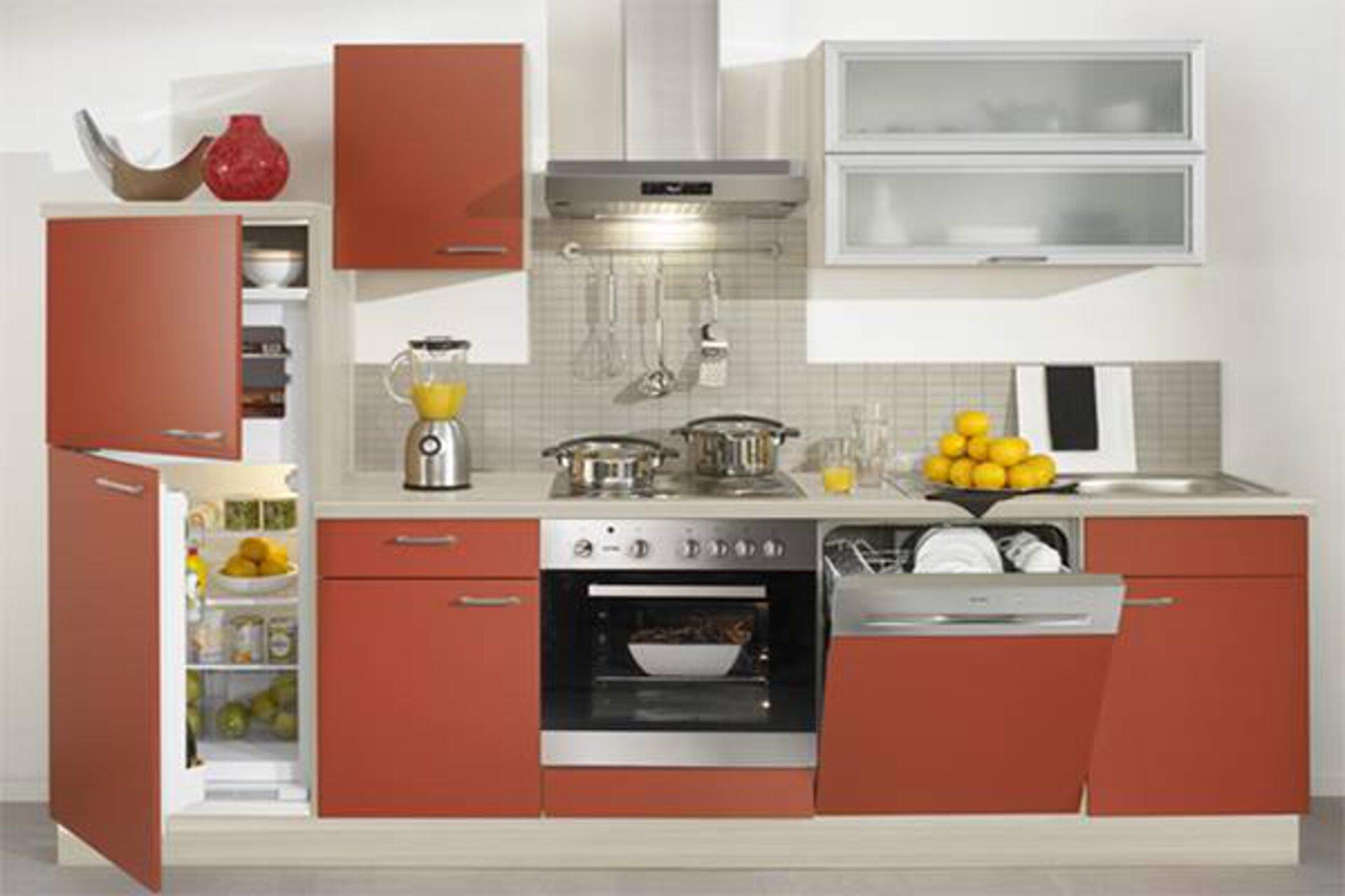 Eine komplette Küchenzeile mit rötliche Front und zahlreichen Einbaugeräten wie Backofen, Kühlschrank und Spülmaschine dient als Kategoriebild für Einbaugeräte in der Küche.
