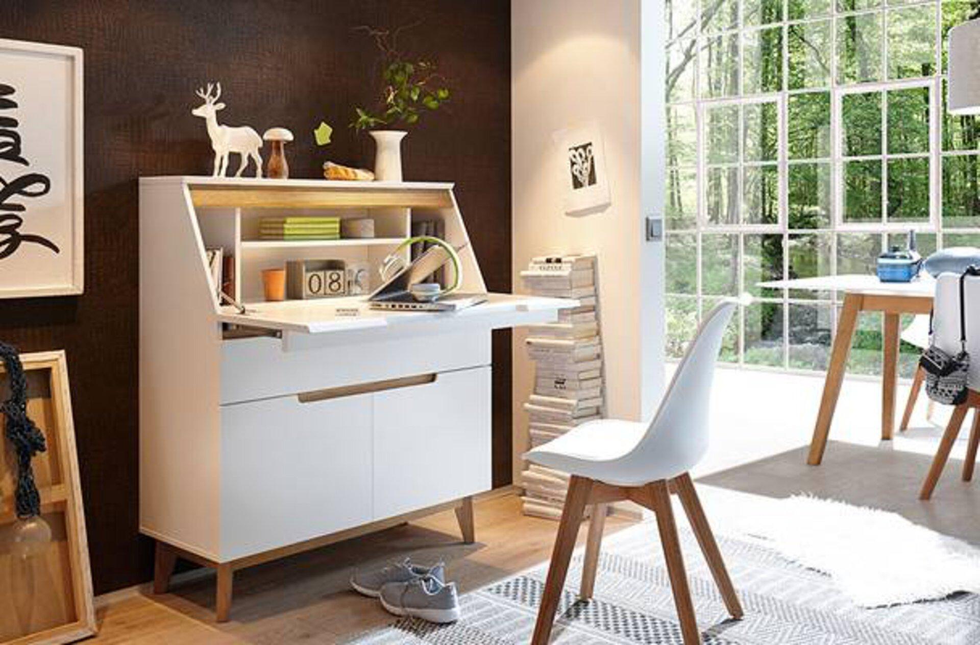 Die trendige Bürokombination im Stil des Microlivings passt in jede Wohnung und jedes WG Zimmer. Geradlinig, clean und zeitlos zeichnet die Möbel dieser Stilrichtung aus