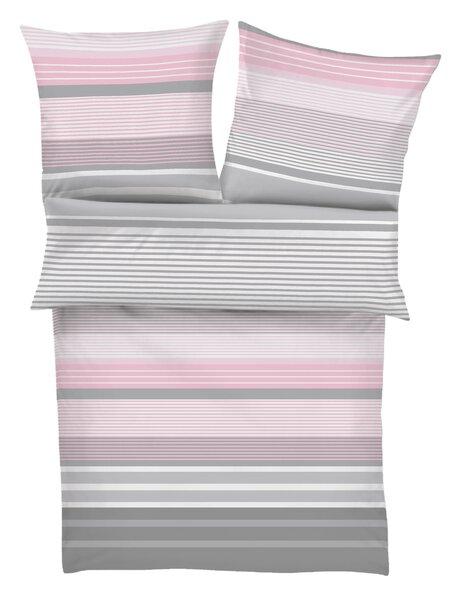 Satin-Bettwäsche S. Oliver Textil 850 grau/rose