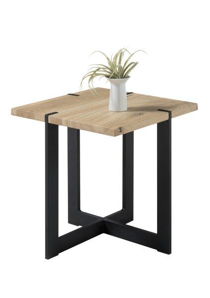 Couchtisch inbuy Holz Eiche massiv/Schwarz matt Lack ca. 45 cm x 50 cm x 45 cm