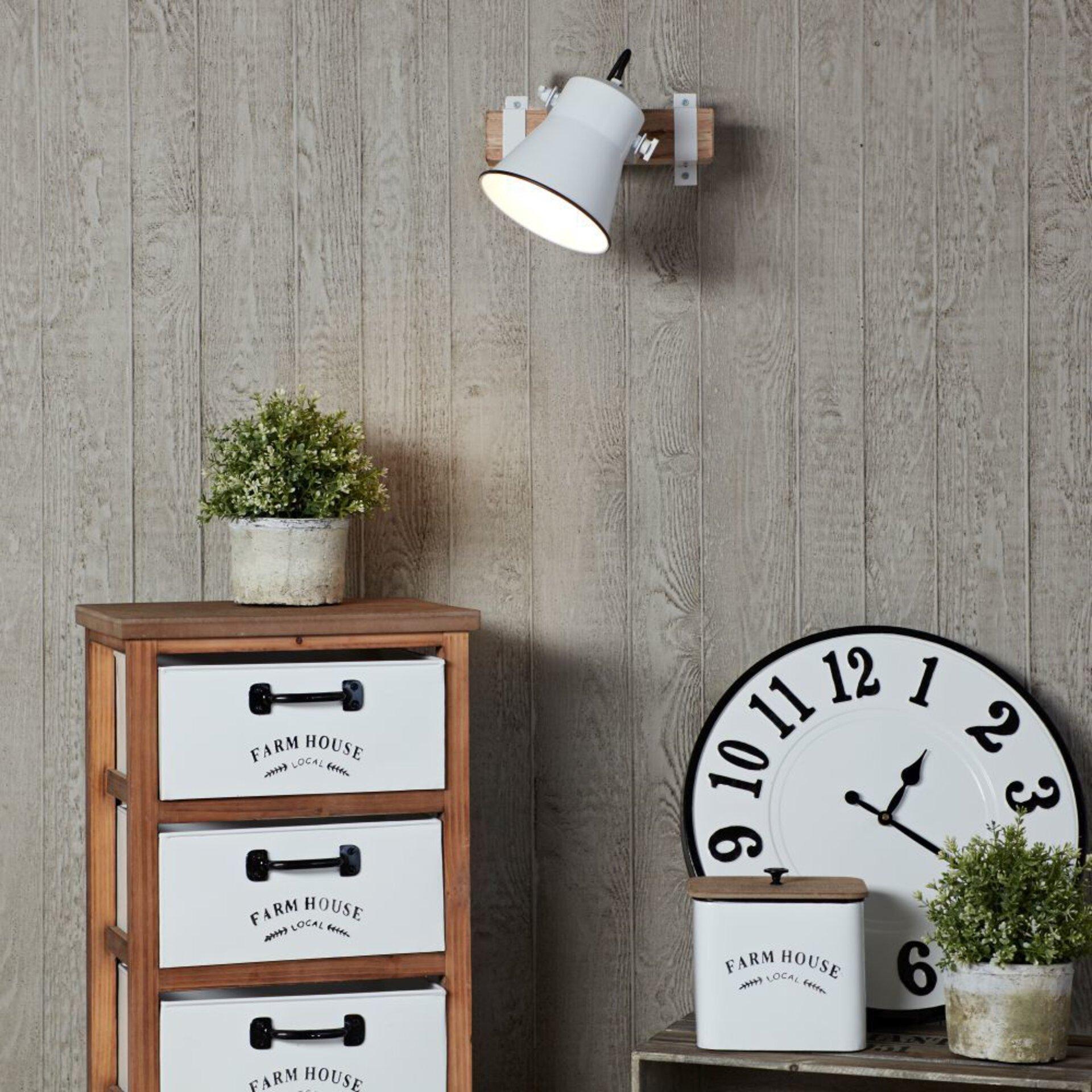 Wandleuchte PLOW Brilliant Holz weiß 17 x 22 x 24 cm