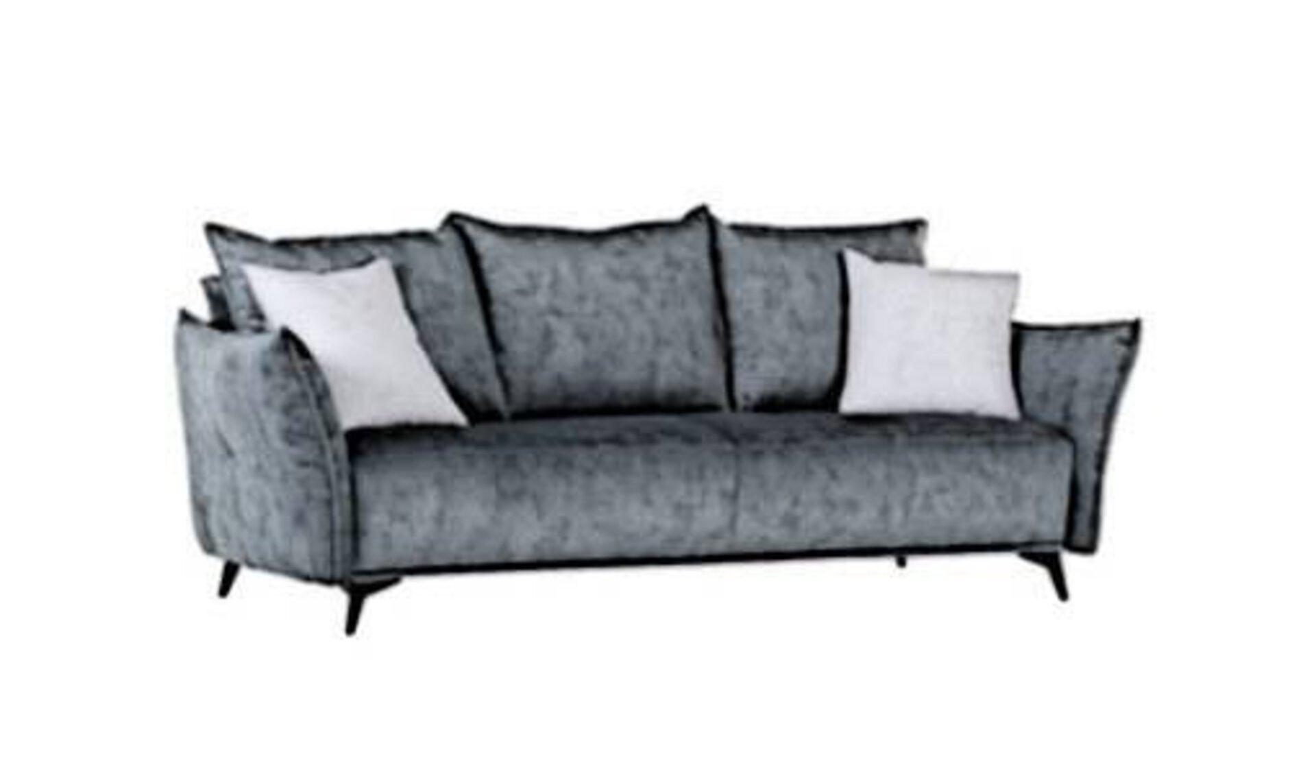 Big-Sofa mit drei großen Kissen im Rückenbereich und zwei kleineren Dekokissen an den Seiten. Das abgebildete grause Bigsofa steht sinnbildlich für alle Produkte innerhalb der Kategorie Big-Sofas