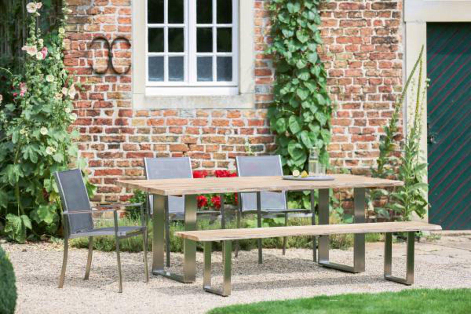 Gartenbank SOLID Niehoff Contract GmbH Garden Holz braun 46 x 40 x 220 cm