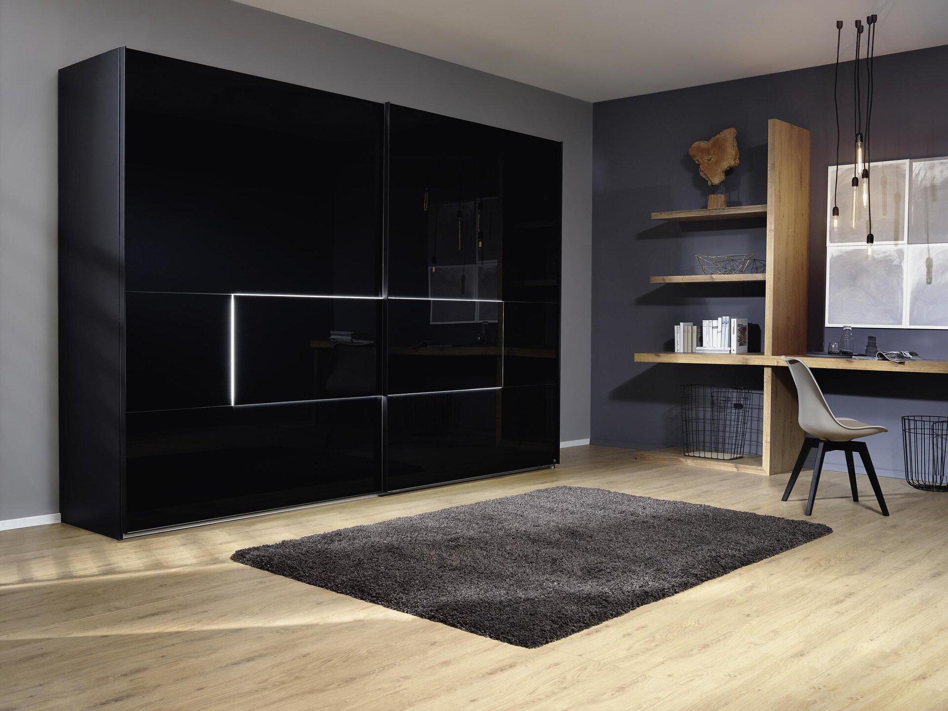 Schwebetürenschrank Tesero MONDO Holzwerkstoff schwarz 68 x 223 x 280 cm