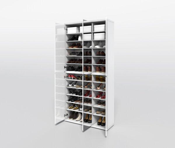 Mehrzweckschrank HMW Möbel  Holzwerkstoff Lack weiß Hochglanz ca. 34 cm x 212 cm x 102 cm