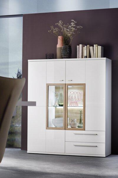 Highboard Vito Holzwerkstoff, Metall Weiß hochglanz tiefgezogen ca. 37 cm x 140 cm x 120 cm