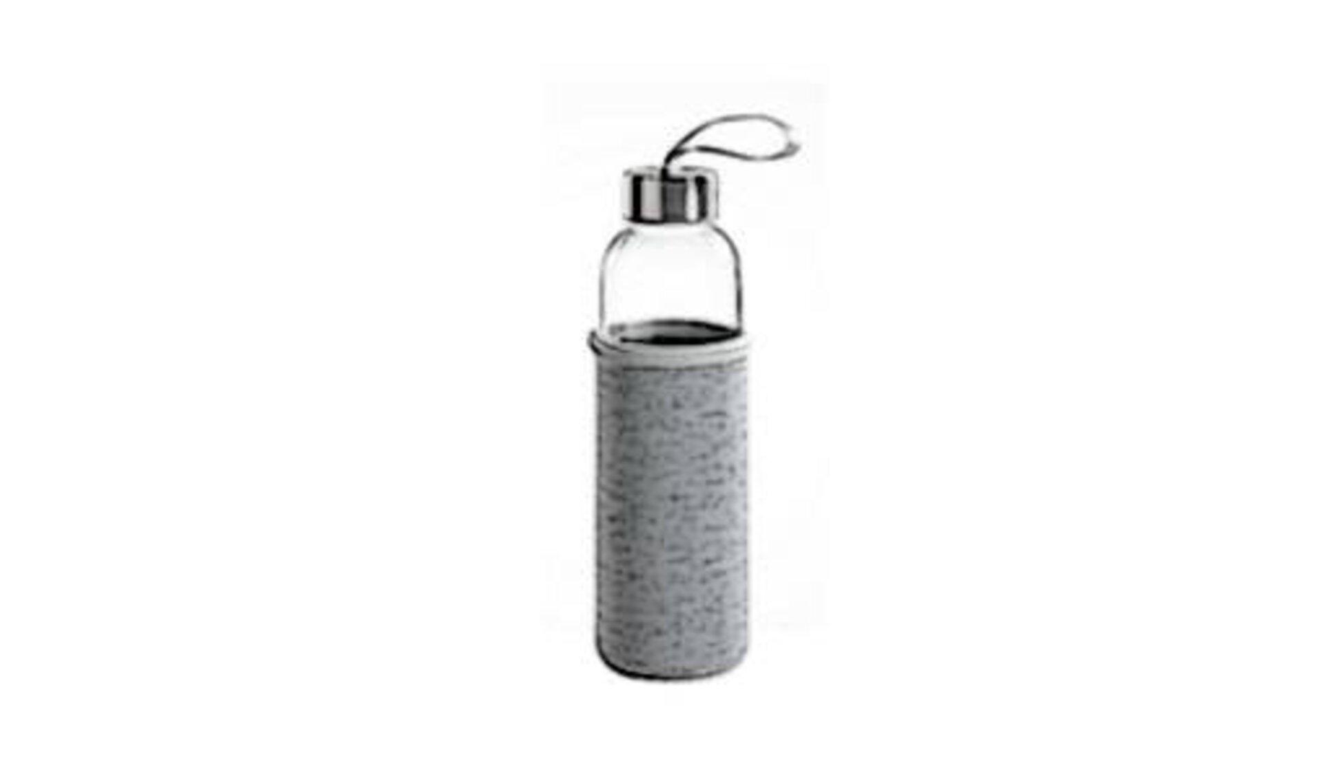 Glasflasche mit großem Deckel und umhüllt mit einem festen Stoff dient als Icon für Trinkflaschen.