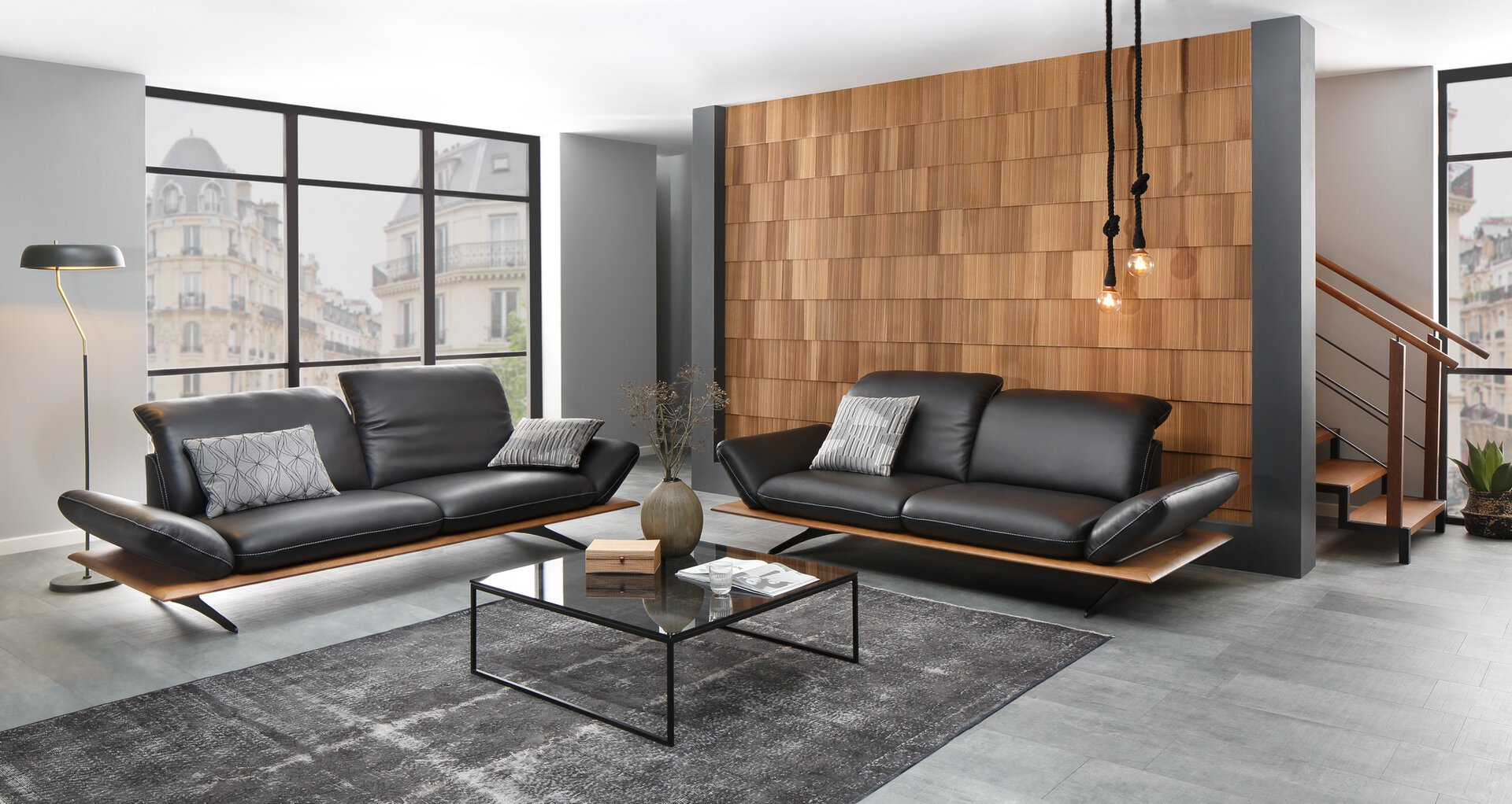 Sofa 2,5-Sitzer 27620 W.Schillig Leder schwarz 110 x 82 x 240 cm