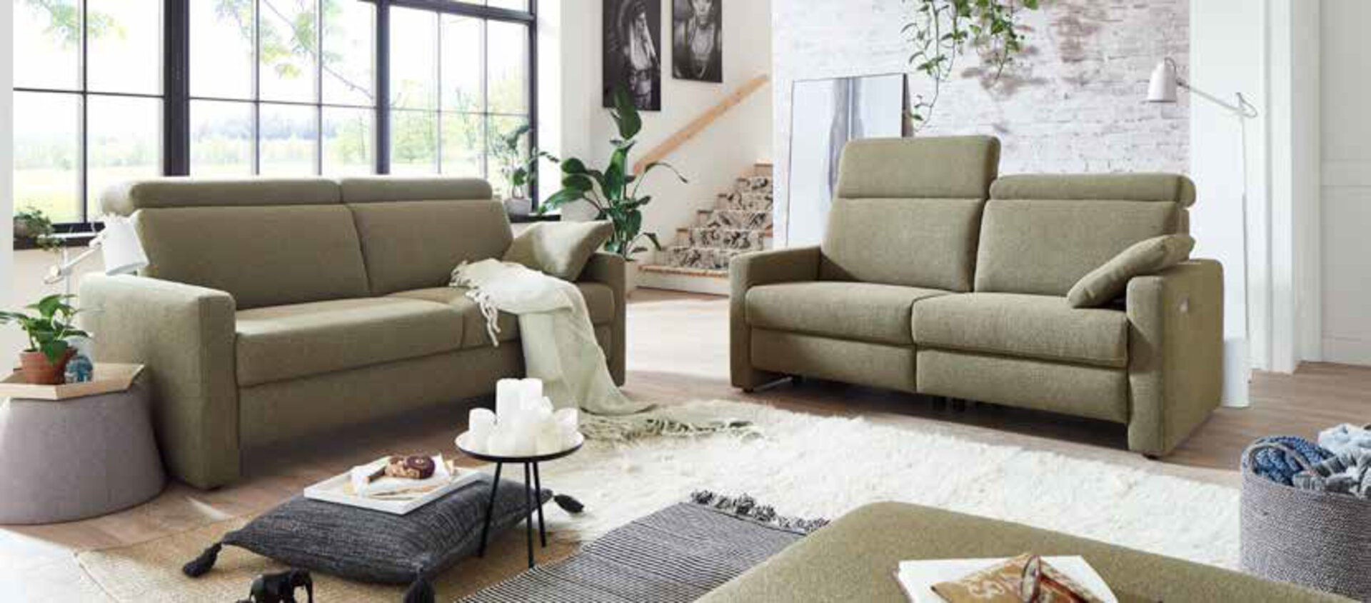 Sofa 3-Sitzer BENEFIT Vito Textil grün