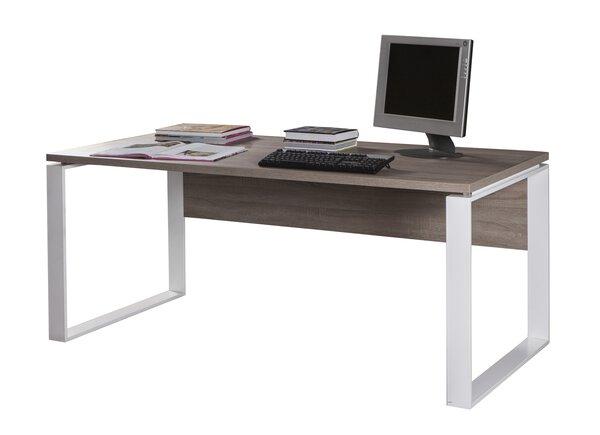 Schreibtischplatte inbuy Holzwerkstoff Trüffel Eiche Nachbildung / Metall Weiss