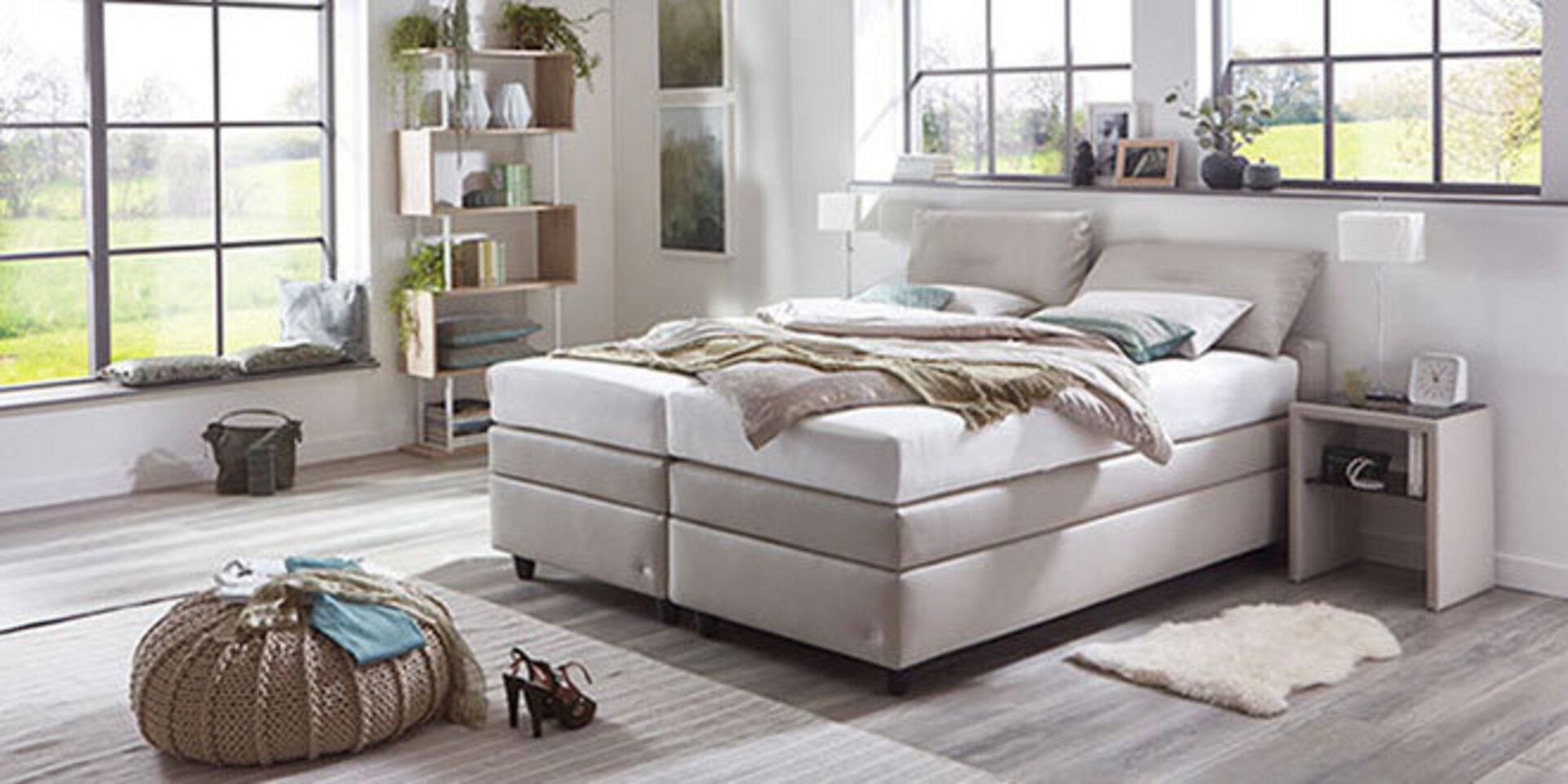 Zweites Titelbild der Marke ruf Betten zeigt ein beiges Boxspringbett