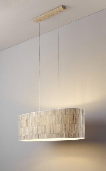 Hängeleuchte MONDO Holz, Textil Eiche geölt, Tapetenmuster ca. 30 cm x 110 cm x 75 cm