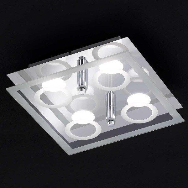 Deckenleuchte Wofi Leuchten Metall chrom ca. 23 cm x 8 cm x 23 cm