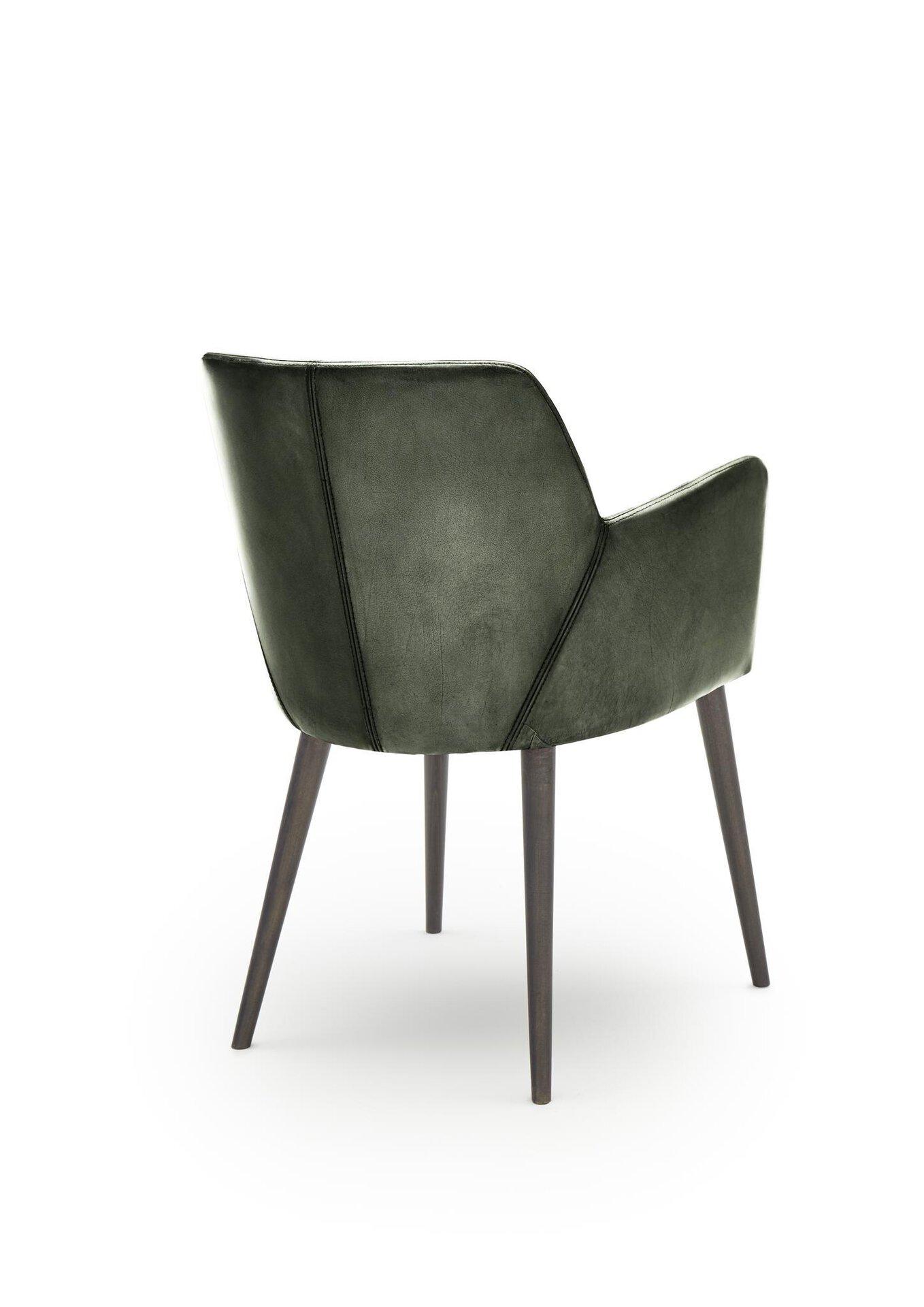 4-Fuß-Stuhl WK7005 Stuart WK Wohnen Edition Leder grün 57 x 83 x 59 cm