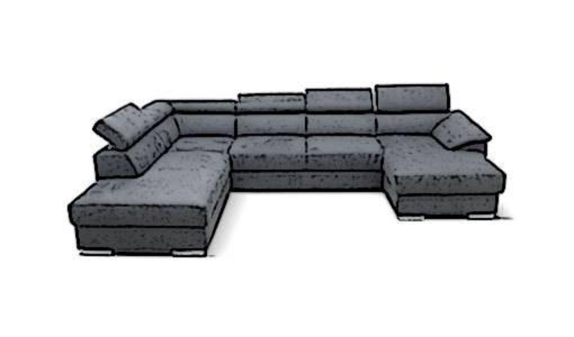 """Die Kategorie """"Wohnlandschaft"""" innerhalb """"Sofa und Couches"""" wird durch ein großes dunkelgraues Sofa dargestellt. Das Sofa hat eine U-Form und zeigt verstellbare Rückenlehnen und Kopfstützen."""