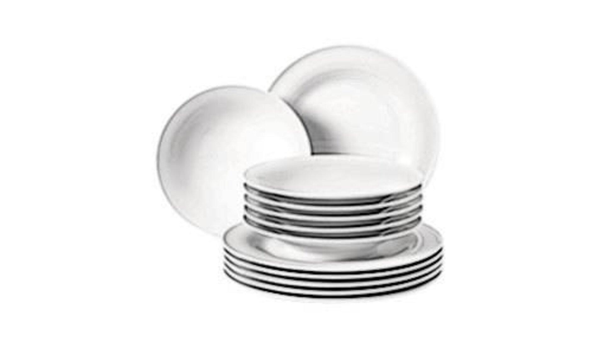 Geschirrset bestehend aus flachen Tellern und Suppentellern stehen als Synonym für alle Geschirrsets innerhalb der Kategorie.