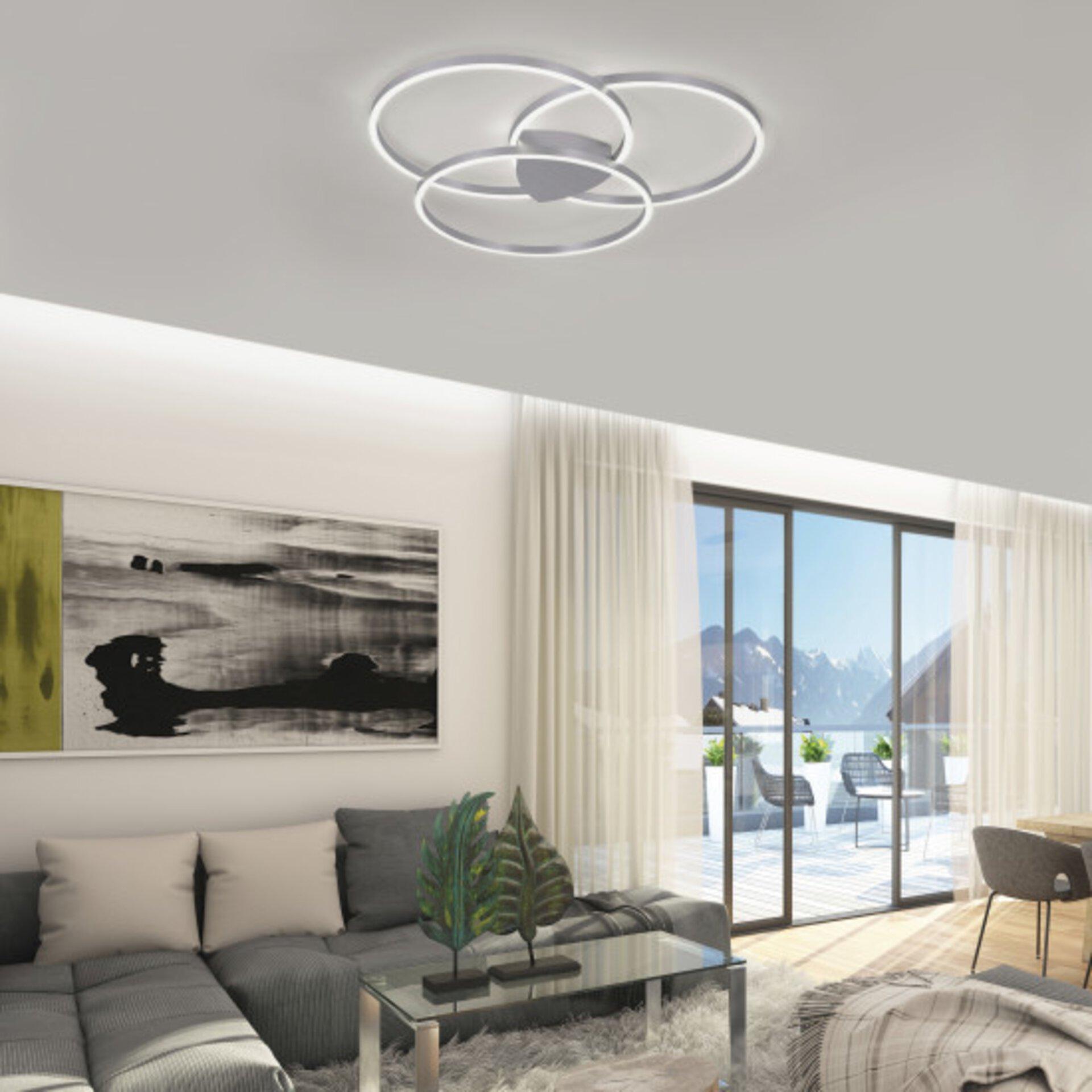 Smart-Home-Leuchten Q-KATE Paul Neuhaus Metall silber 93 x 8 x 93 cm
