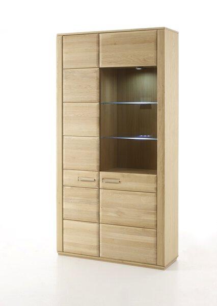 Vitrine SENA MCA furniture Glas, Holz, Holzwerkstoff Eiche bianco massiv geölt ca. 38 cm x 209 cm x 107 cm