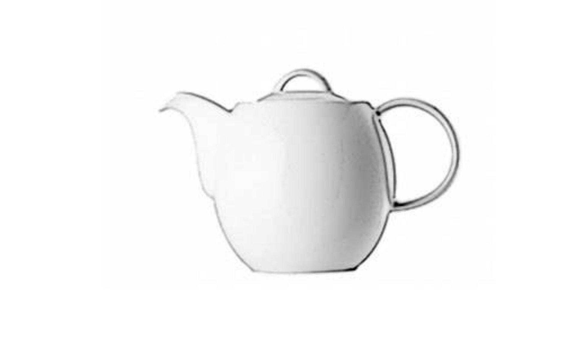 Weiße Teekanne mit dickem Bauch dient als Icon für alle Kannen.