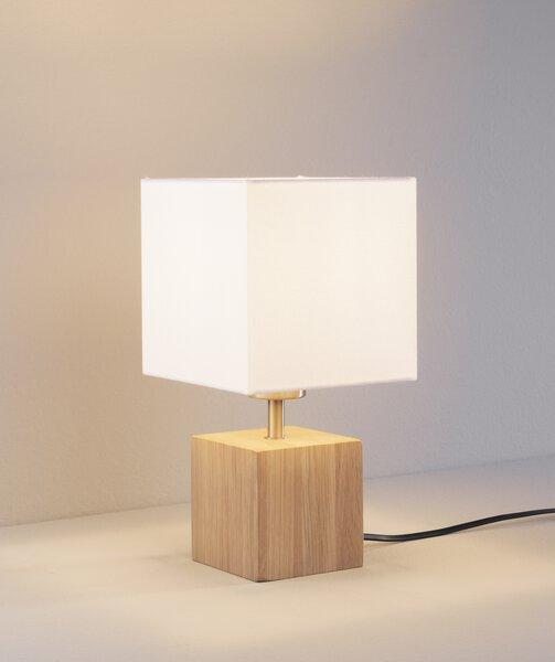 Tischleuchte MONDO Holz, Textil Eiche geölt, weiß ca. 10 cm x 30 cm x 10 cm