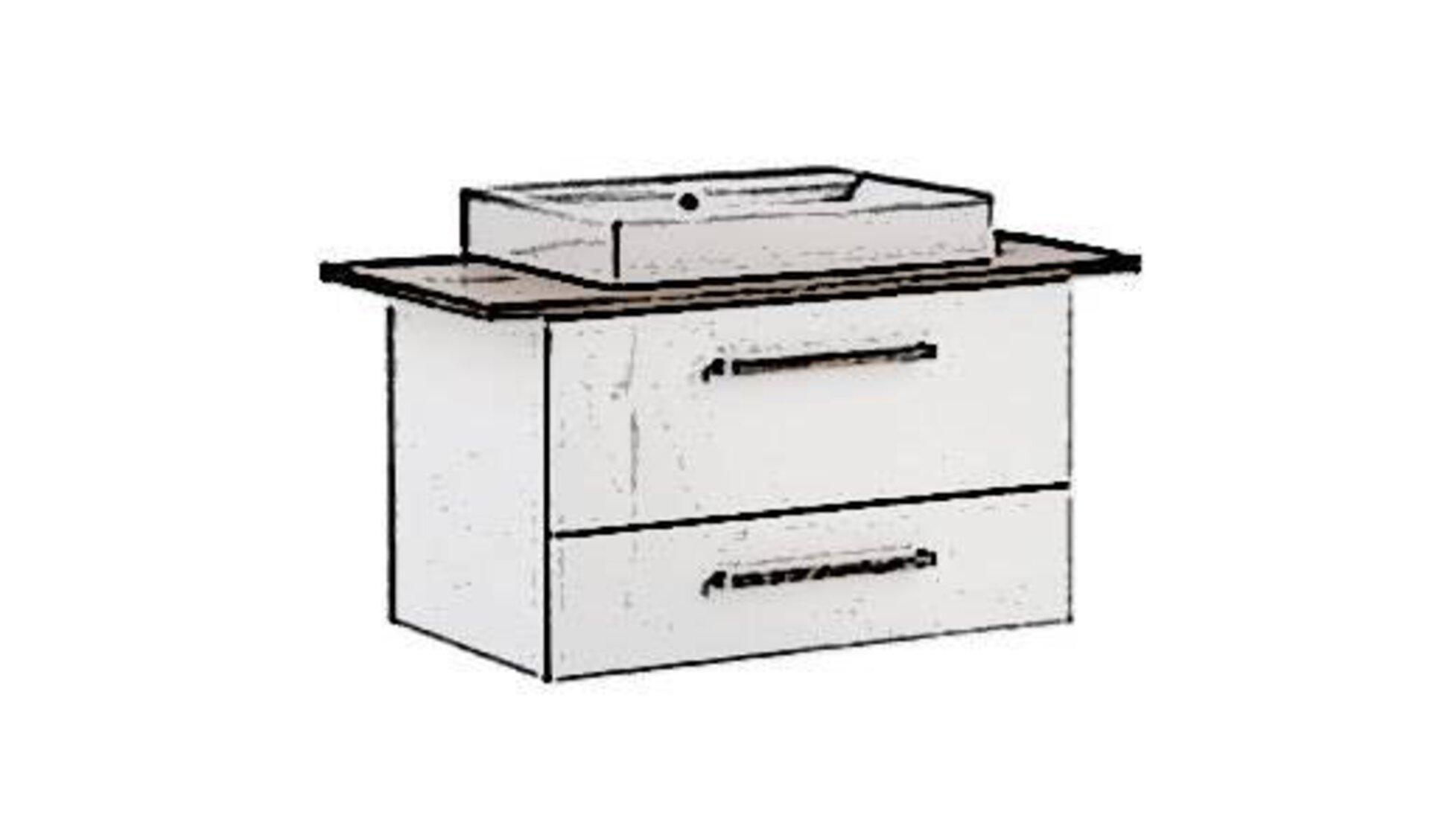 Icon für Waschtisch ist ein weißer Schrank mit zwei unterschiedlich hohen Schubladen. Der Korpus ist aus weißem Furnier mit Holzgriffen. Die Waschtischplatte besteht aus Holz und das rechteckige Keramik-Waschbecken ist ober aufgesetzt.