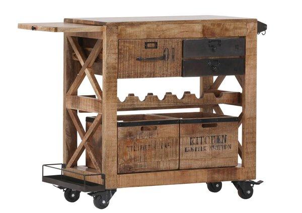 Servierwagen Gutmann Factory Holz, Metall Natur, Mango massiv ca. 43 cm x 85 cm x 97 cm
