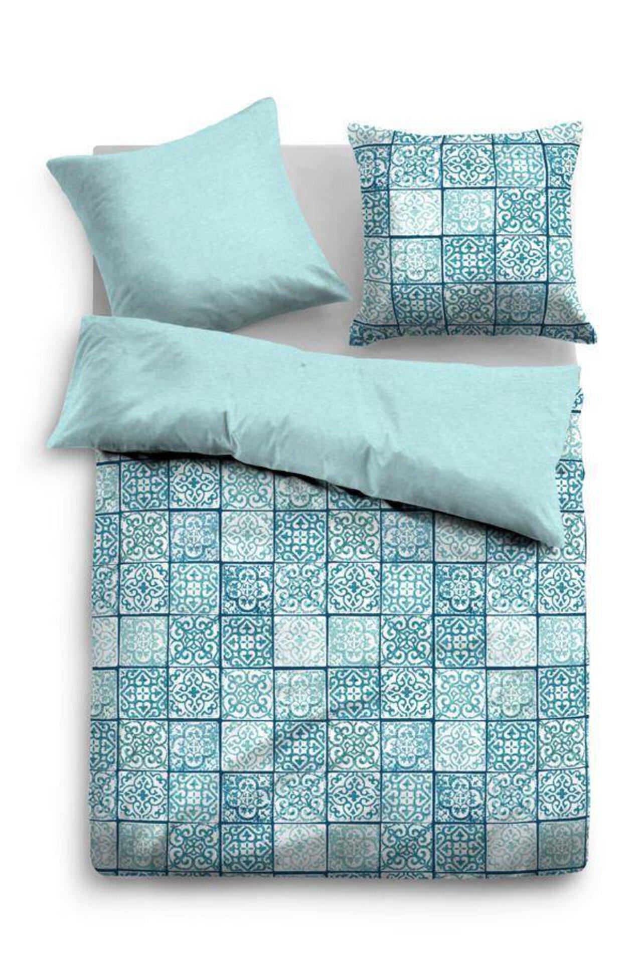 Satin-Bettwäsche Patchwork Ornamente Tom Tailor Textil Blau 135 x 200 cm