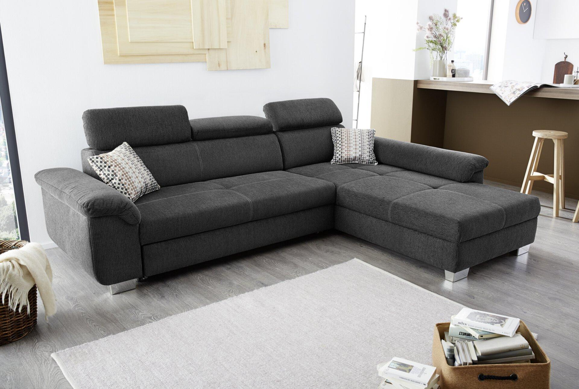 Sofa LANDSHUT CELECT Textil grau 214 x 102 x 295 cm