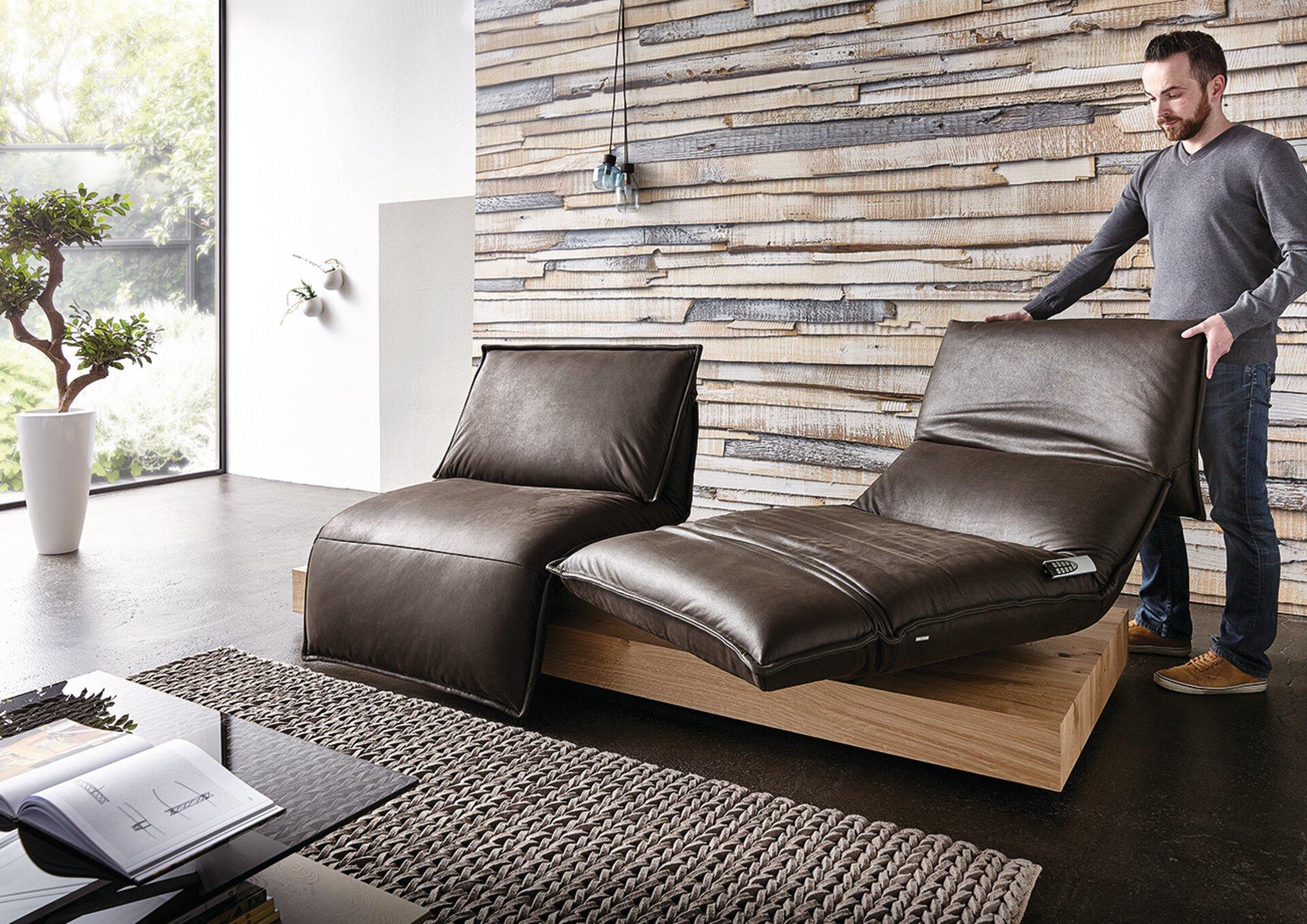 Sofa 2-Sitzer EDIT 3 Koinor Leder braun 115 x 80 x 240 cm