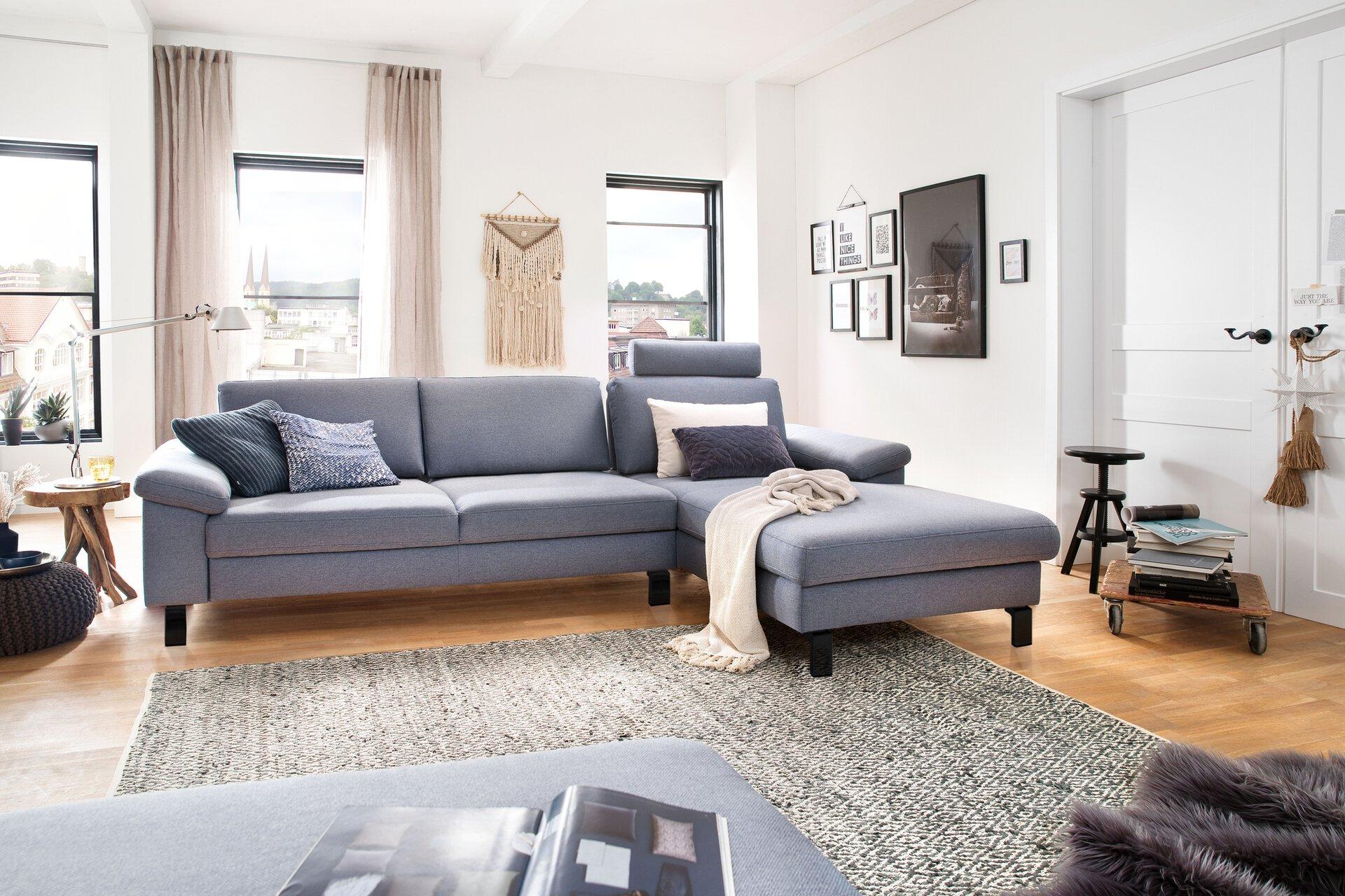 Ecksofa COAST Couch Lifestyle Textil grau