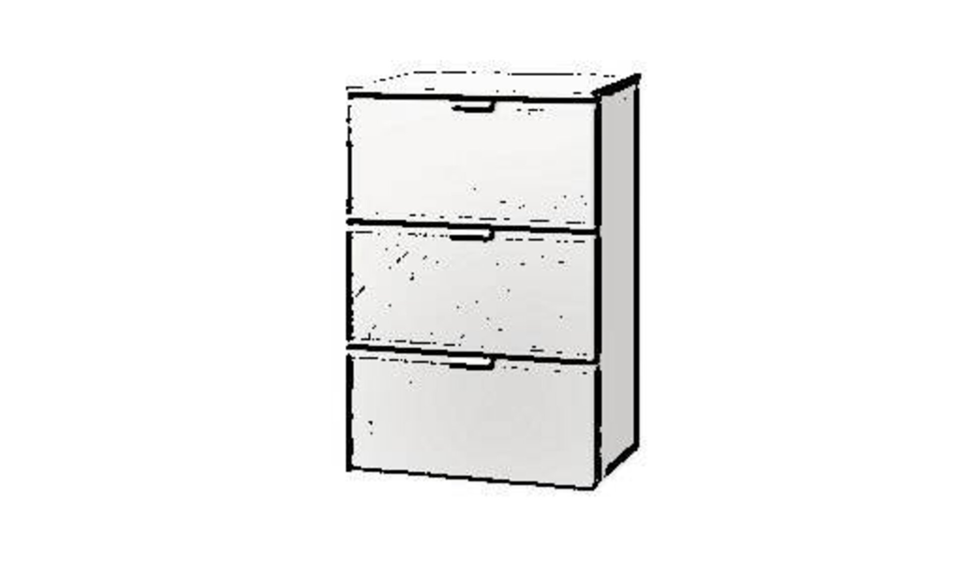 Icon für Kommode zeiht eine schmale Kommode aus weißem Furnier mit 3 gleichgroßen Schubladen.