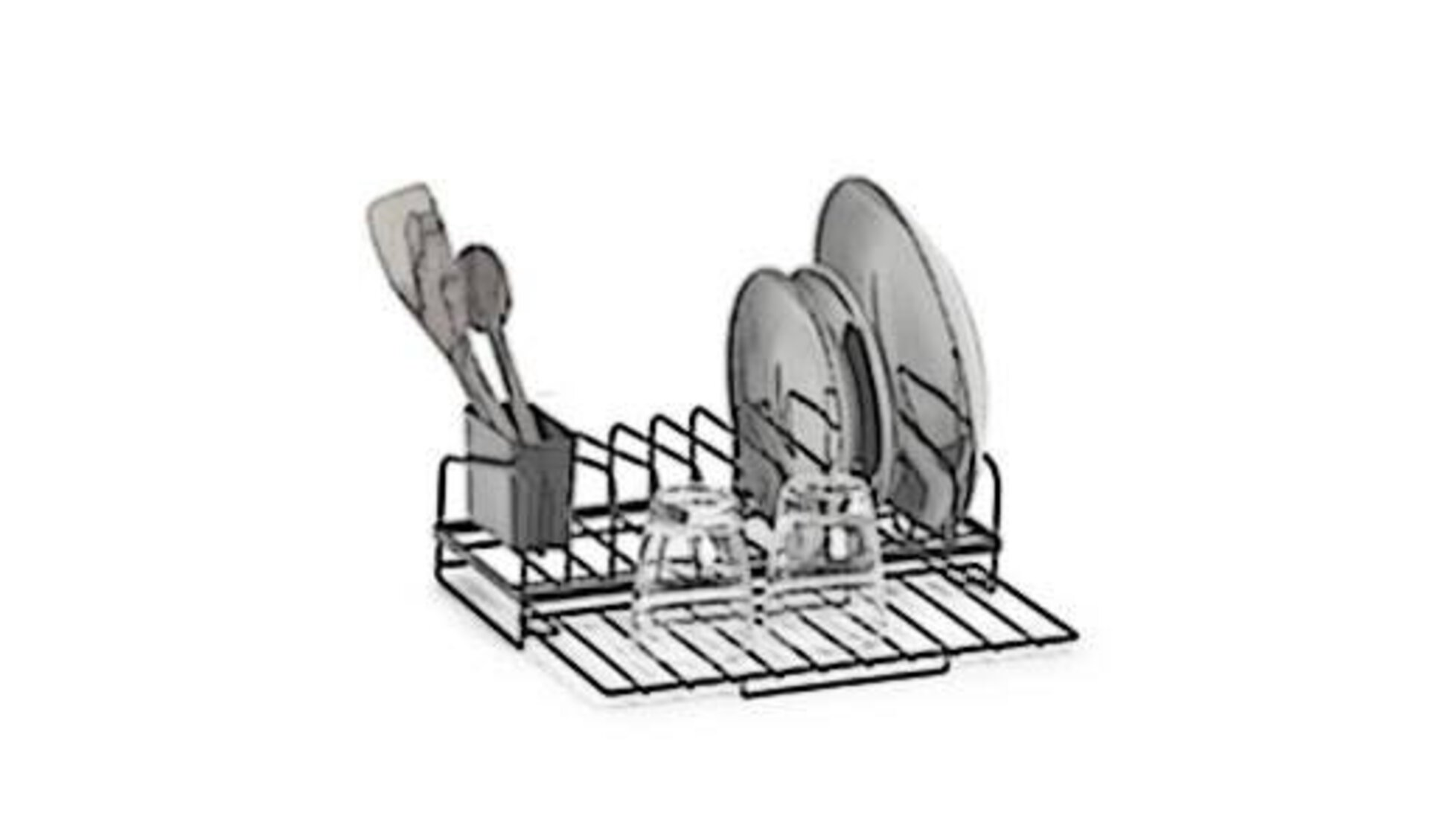 Geschirrablage aus rostfreiem Edelstahl als Sinnbild für alle Geschirrablagen innerhalb der Kategorie. Dazu gehören auch Besteckkästen für Schubladen.