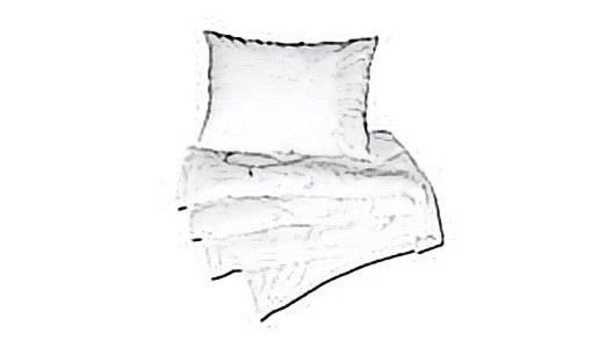 Icon für Kopfkissen und Bettdecken zeigt eine zusammengelegte Steppdecke und darauf ein gefülltes Kopfkissen.