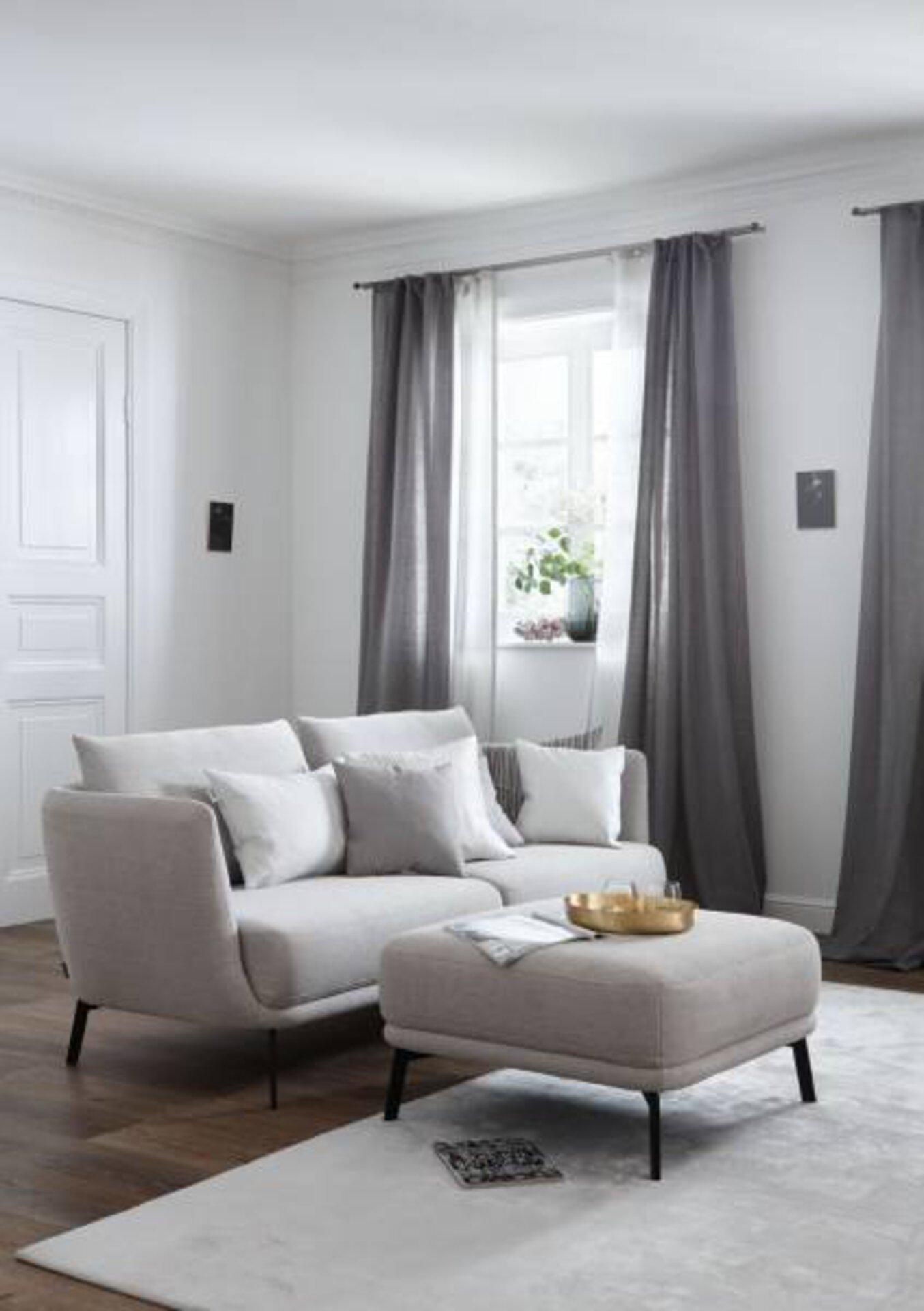 Sofa 2,5-Sitzer PEARL Schöner Wohnen Textil grau 96 x 76 x 195 cm