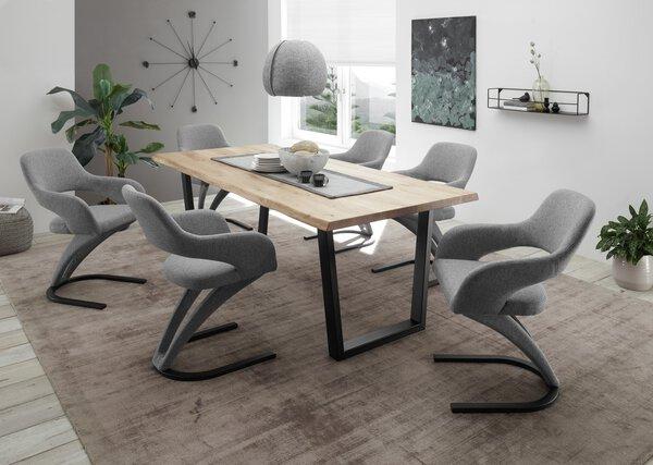 Esstisch Dinett Holzwerkstoff schwarz matt / Eiche massiv ca. 100 cm x 75 cm x 220 cm