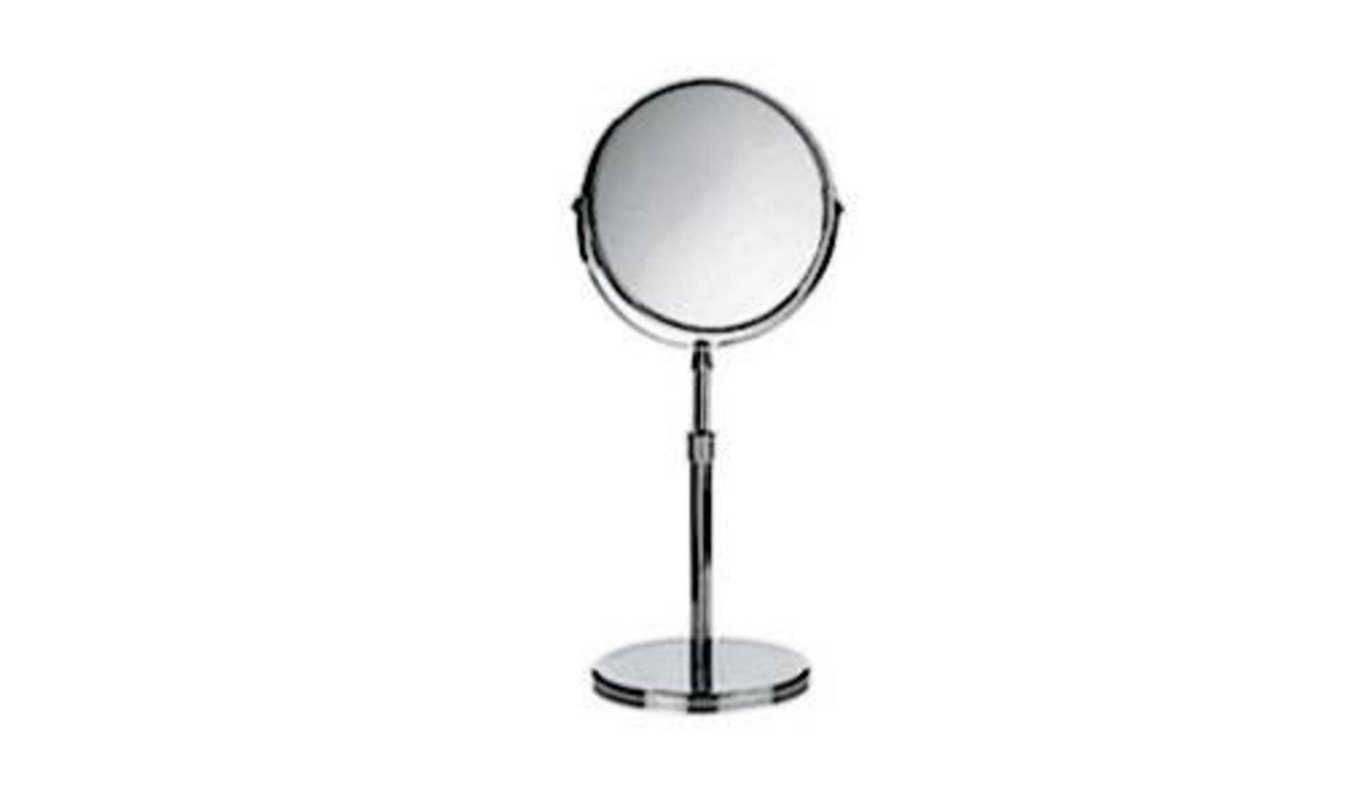 Runder Kosmetikspiegel mit höhenverstellbaren Fuß als Sinnbild für Spiegel