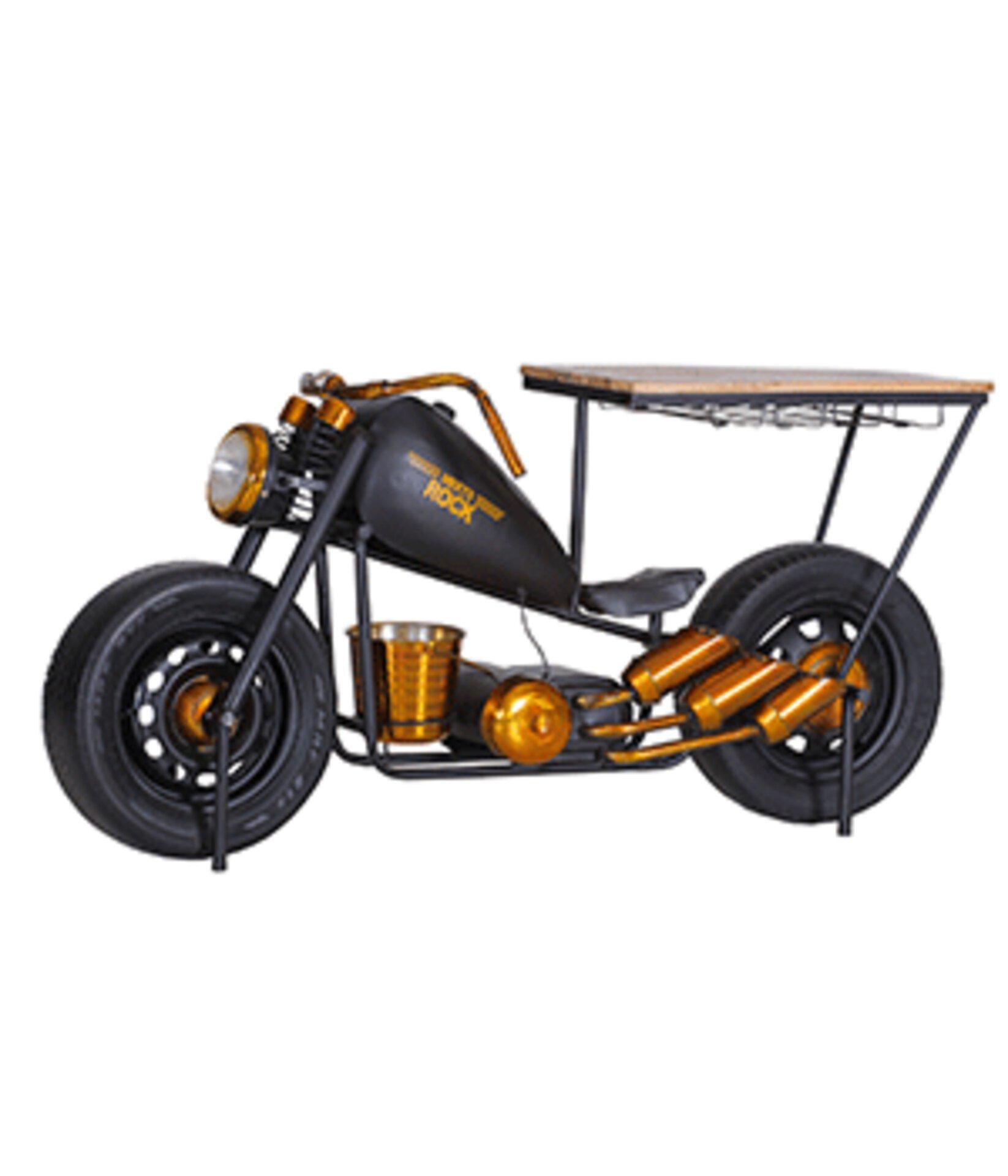 Hausbar als Harley in schwarz und Gold