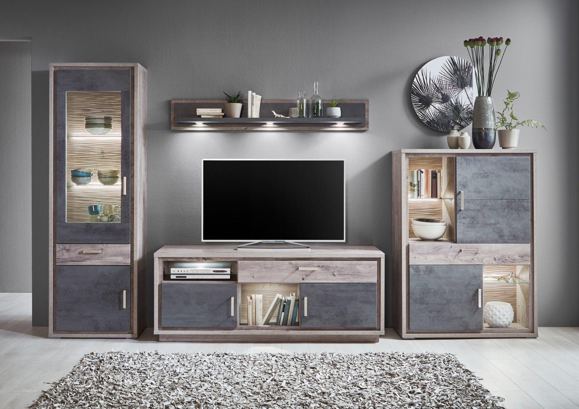 Wohnwand ASSET Vito Holzwerkstoff 50 x 204 x 352 cm