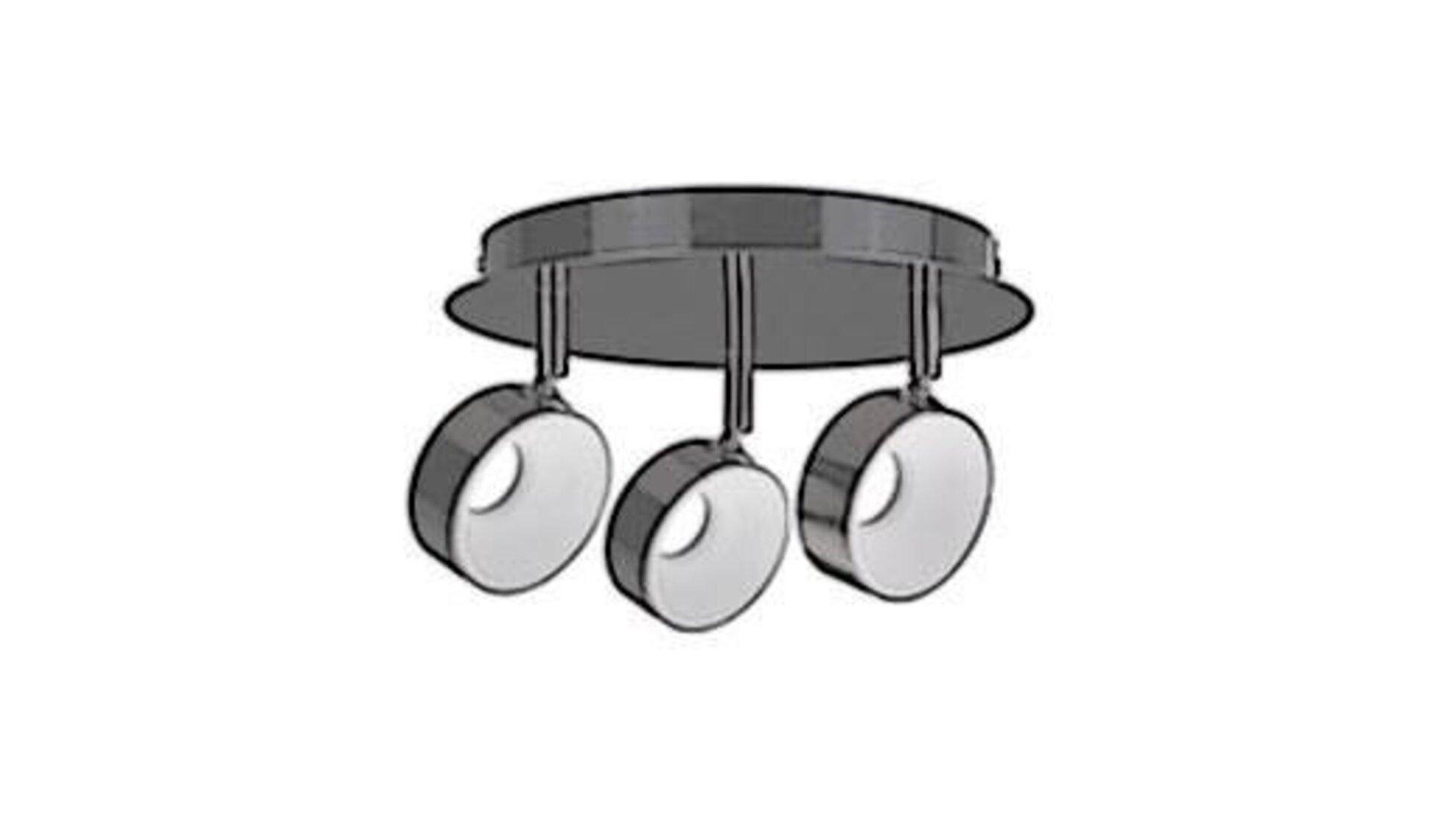 Deckenlampe aus rundem Metallkorpus mit drei drehbaren Leuchten als Synonym für alle Deckenleuchten innerhalb der Produktwelt.