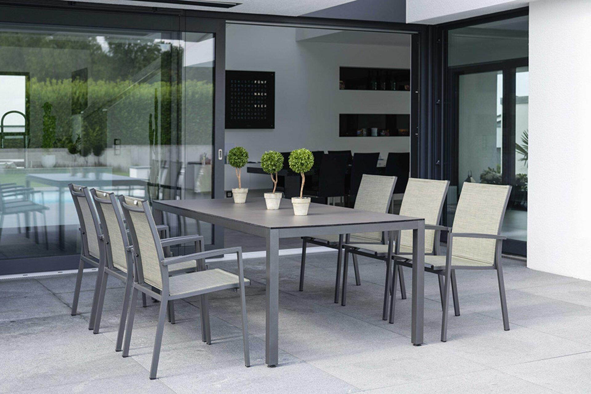 Stapelstuhl SILVERSTAR 2.0 Stern Garten- und Freizeitmöbel Textil grau 57 x 92 x 61 cm