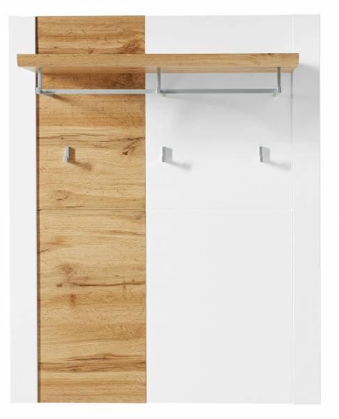Garderobenpaneel Vito Holzwerkstoff Lack weiß matt Eiche Altholz ca. 29 cm x 112 cm x 90 cm