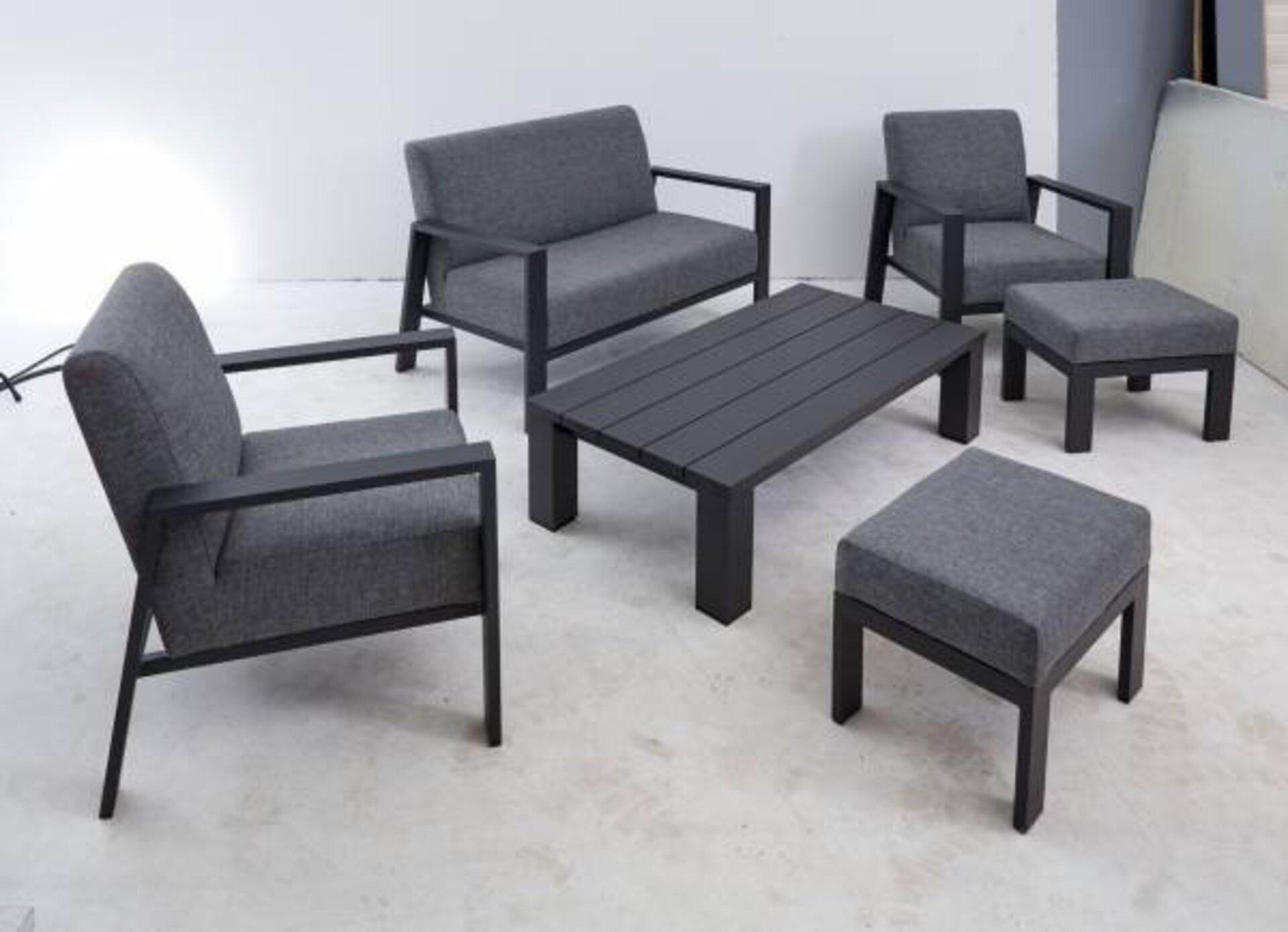 Loungehocker DJERBA Outdoor Textil grau 43 x 43 x 58 cm